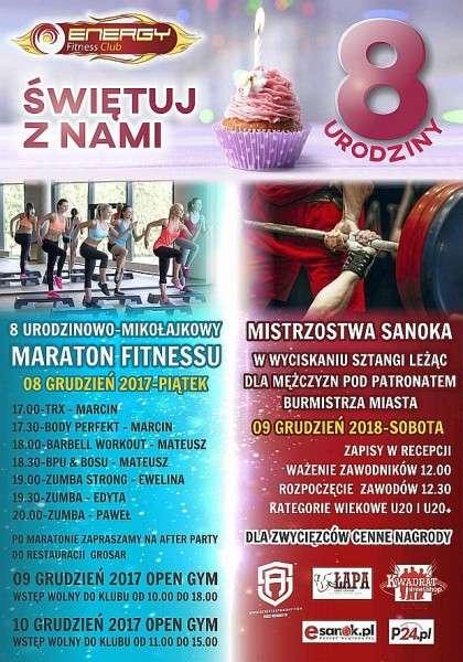 Zapraszamy naurodzinowo-mikołajkowy Maraton Fitnessu