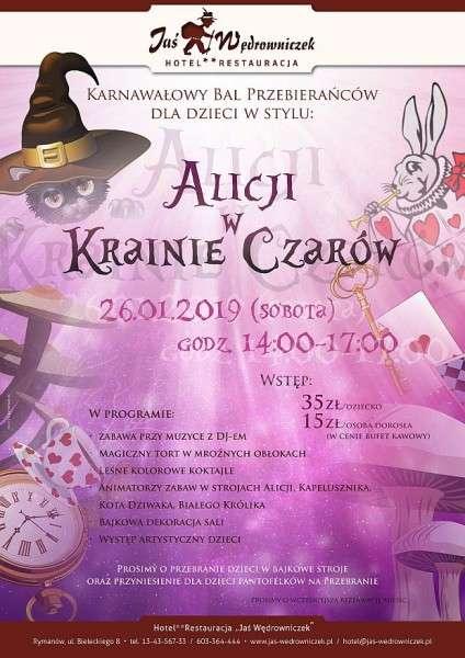 Karnawałowy bal dla dzieci wstylu Alicji wKrainie Czarów